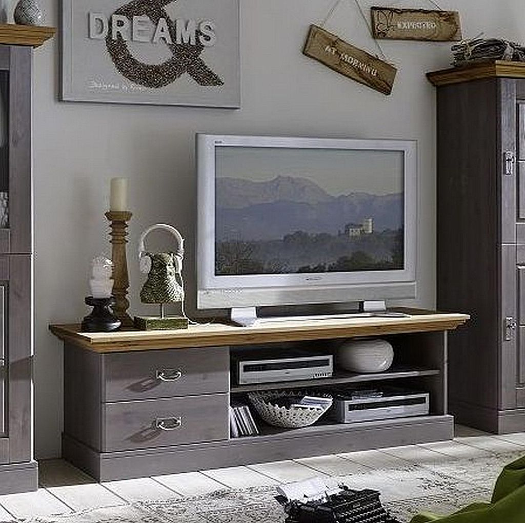 tv lowboard 119x53x48cm 2 schubladen kiefer massiv 2farbig grau lasiert gelaugt ge lt. Black Bedroom Furniture Sets. Home Design Ideas