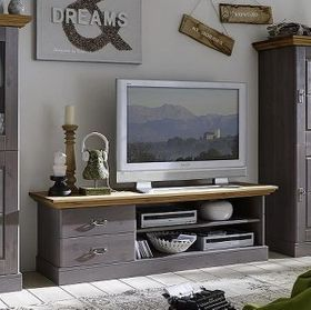 TV-Lowboard 119x53x48cm, 2 Schubladen, Kiefer massiv 2farbig grau lasiert / gelaugt geölt