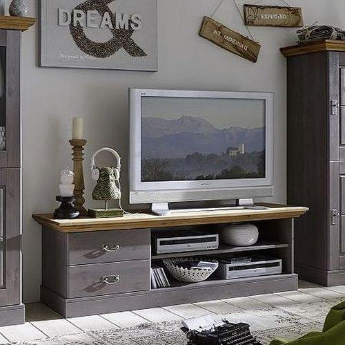 Anbauwand Kiefer 2farbig grau gelaugt geölt Schrankwand Wohnwand Vollholz massiv – Bild 3