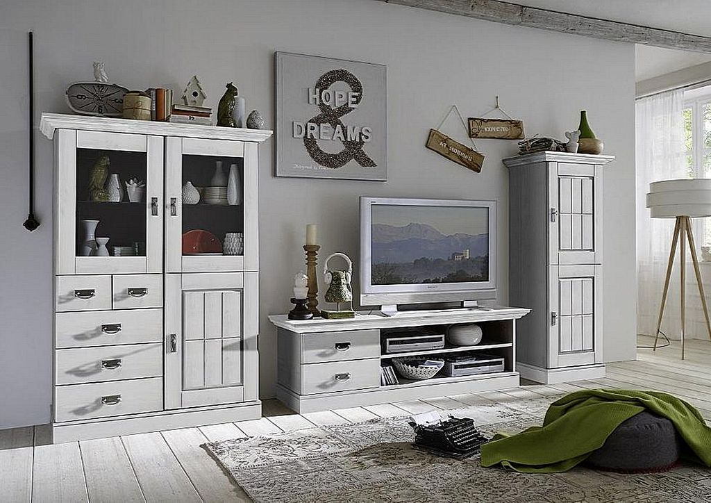 wohnwand 3teilig lowboard highboard schrank kiefer massiv wei lasiert. Black Bedroom Furniture Sets. Home Design Ideas