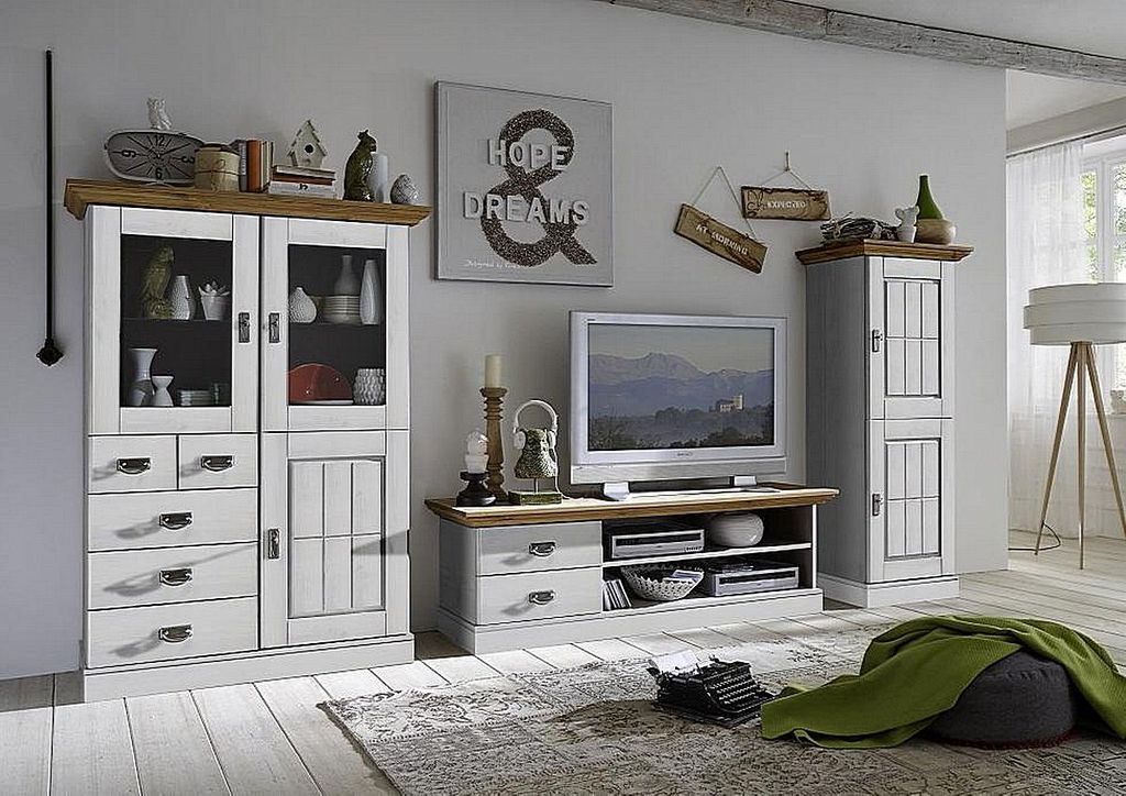 wohnwand 3teilig lowboard highboard schrank kiefer massiv. Black Bedroom Furniture Sets. Home Design Ideas