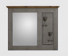 Dielenspiegel 104x86x6cm, 2 Kleiderhaken, Kiefer massiv 2farbig grau lasiert / gelaugt geölt