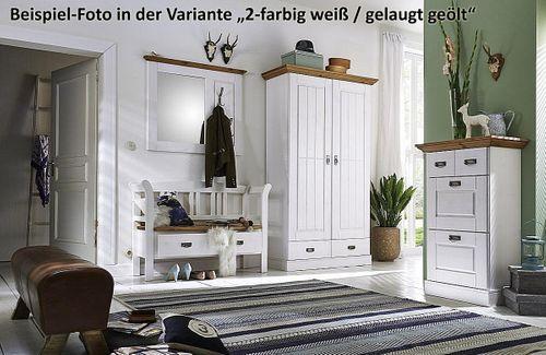Dielen-Set 2teilig Kiefer 2farbig gelaugt geölt grau Dielenbank Spiegel Vollholz massiv – Bild 6