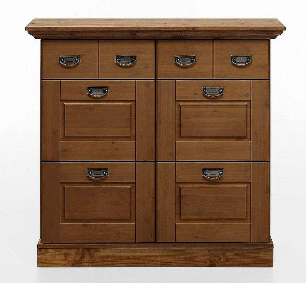 schuhschrank 119x110x40cm 4 klappen 2 schubladen kiefer massiv gelaugt ge lt. Black Bedroom Furniture Sets. Home Design Ideas