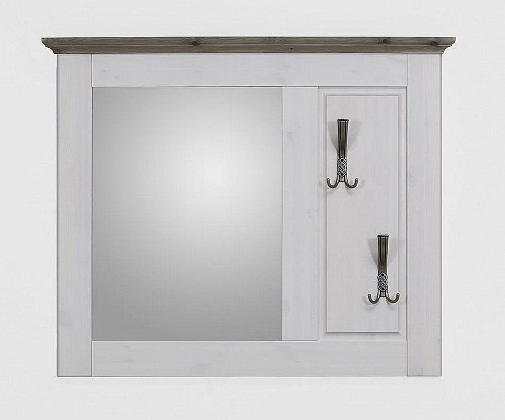 Garderobenspiegel Kiefer 2farbig weiß grau Flurspiegel Vollholz massiv – Bild 1