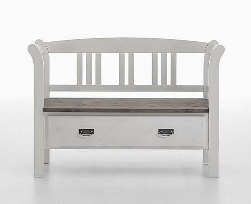 Dielenbank Kiefer 2farbig weiß grau Sitzbank Vollholz massiv – Bild 1