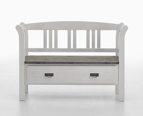 Dielenbank 127x87x42cm, 1 Schublade, Kiefer massiv 2farbig weiß / grau lasiert
