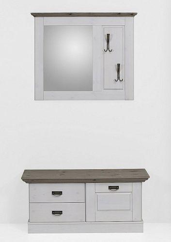 Garderoben-Set FJORD aus Kiefer grau/weiß lasiert