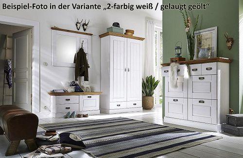 Dielen-Set 2teilig Kiefer 2farbig weiß grau Dielenbank Spiegel Vollholz massiv – Bild 5