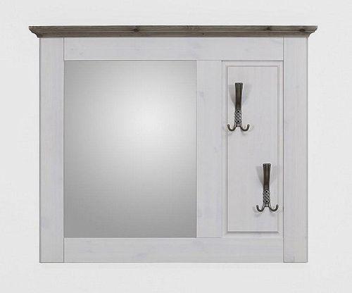Dielen-Set 2teilig Kiefer 2farbig weiß grau Dielenbank Spiegel Vollholz massiv – Bild 3