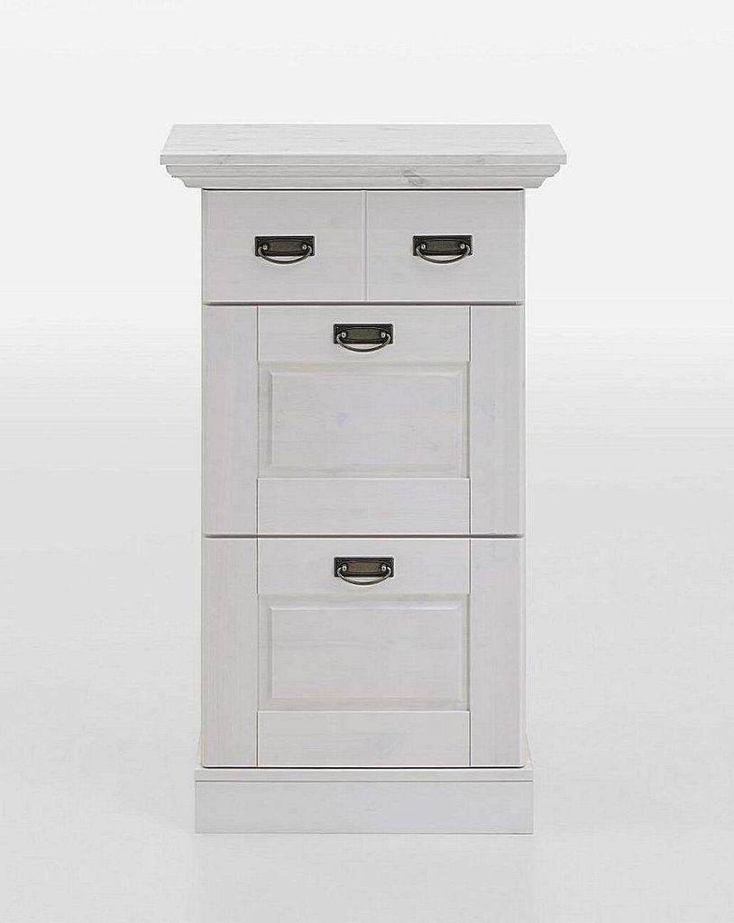schuhkommode 66x110x40cm 2 klappen 1 schublade kiefer massiv wei lasiert. Black Bedroom Furniture Sets. Home Design Ideas