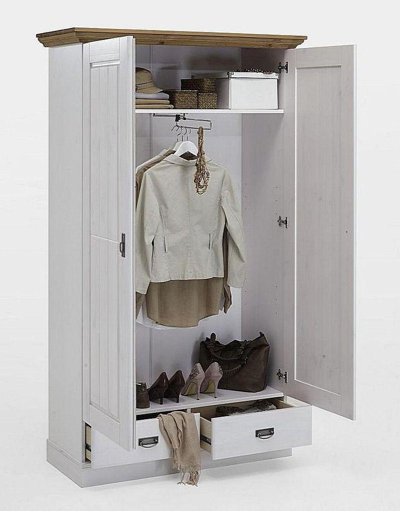 Dielenschrank 119x200x48cm 2 Türen 2 Schubladen Kiefer Massiv