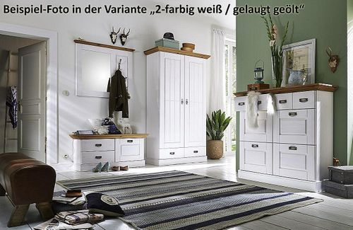 Dielenschrank Kiefer 2farbig weiß Flurschrank Vollholz Kleiderschrank massiv – Bild 3