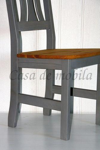 Stuhl Stühle Küchenstuhl Holzstuhl Kiefer massiv Vollholz grau gelaugt – Bild 4