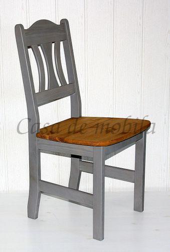 Stuhl Stühle Küchenstuhl Holzstuhl Kiefer massiv Vollholz grau gelaugt – Bild 1