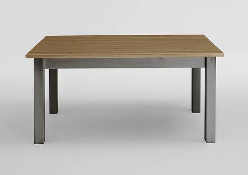 Esstisch 140x90 2farbig grau gelaugt Kiefer Küchentisch Vollholz massiv – Bild 1