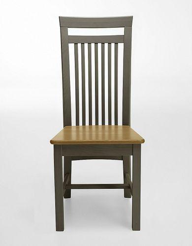Holzstuhl Kiefer 2farbig grau gelaugt Stühle Vollholz massiv Stuhl aus Holz – Bild 1