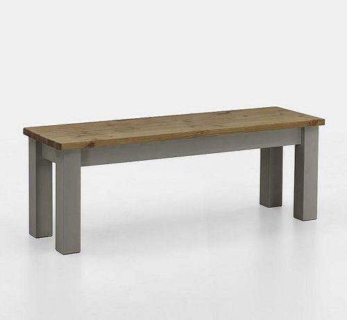 Sitzbank 130cm 2farbig grau gelaugt Kiefer Holzbank Küchenbank Vollholz massiv – Bild 1