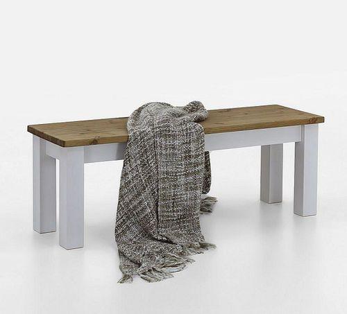 Sitzbank 130cm 2farbig weiß gelaugt Kiefer Holzbank Küchenbank Vollholz massiv – Bild 1