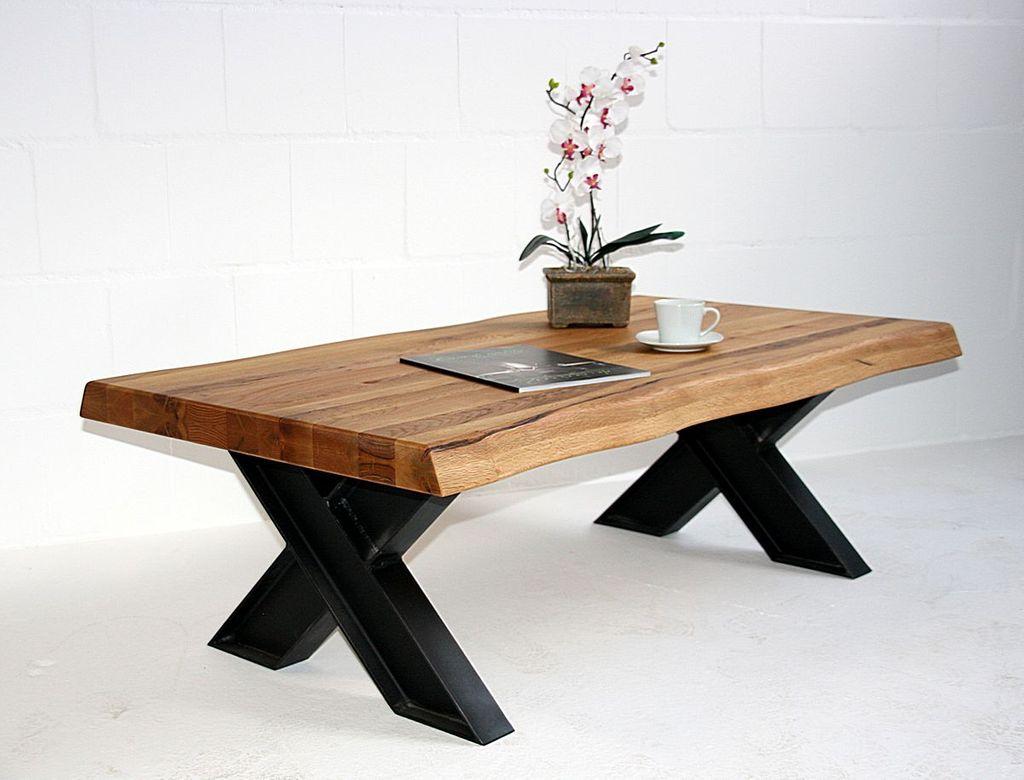 Couchtisch 135x45x75cm, natürliche Baumkante, Tischplattenstärke ...