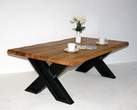 Couchtisch 135x45x75cm, natürliche Baumkante, Tischplattenstärke 40mm, Wildeiche natur geölt