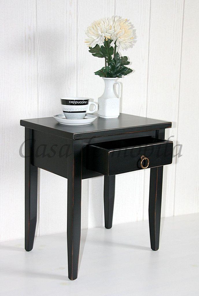 Massivholz Nachttisch Nachtkommode Beistelltisch schwarz shabby chic ...