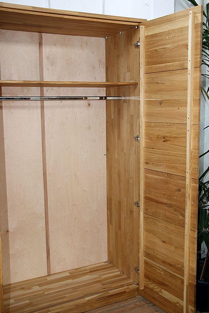 Massivholz Kleiderschrank 2türig Wildeiche massiv geölt – Bild 4