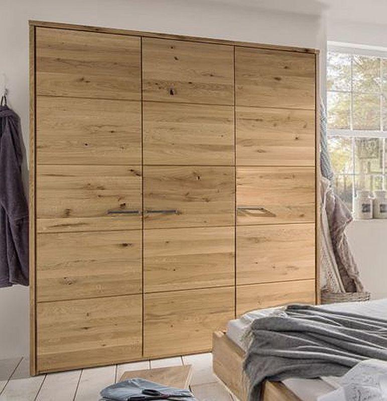 Kleiderschrank 181x219x60cm 3 Türen Wildeiche Massiv Geölt