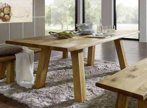 Baumtisch 260x100 Wildeiche massiv Esstisch Baumkante Holzbeine Eiche geölt – Bild 1
