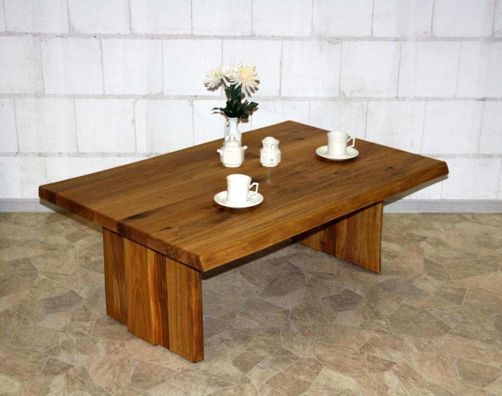 Couchtisch 120x45x80cm, Baumkante, Holzfüße, Wildeiche massiv geölt