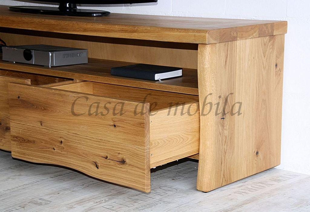 tv lowboard 191x50x45cm 3 schubladen baumkante wildeiche massiv ge lt. Black Bedroom Furniture Sets. Home Design Ideas