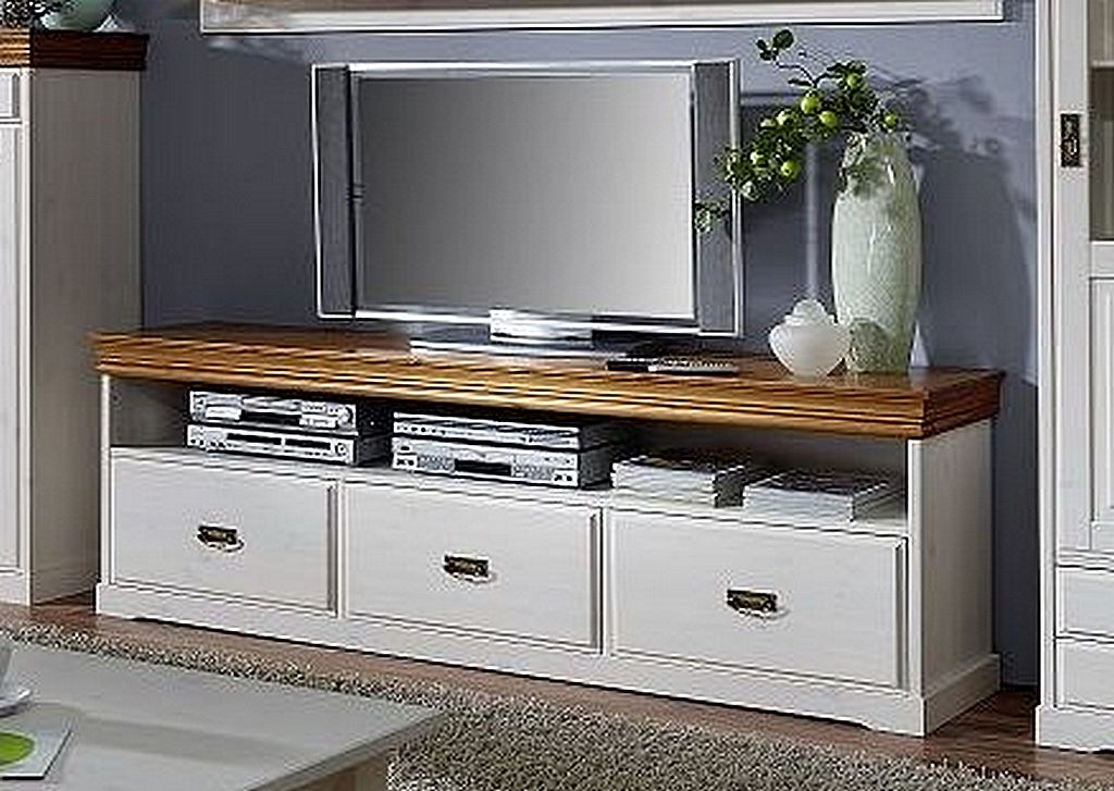 wohnwand 4teilig lowboard vitrine vertiko wandboard kiefer massiv 2farbig wei gewachst. Black Bedroom Furniture Sets. Home Design Ideas