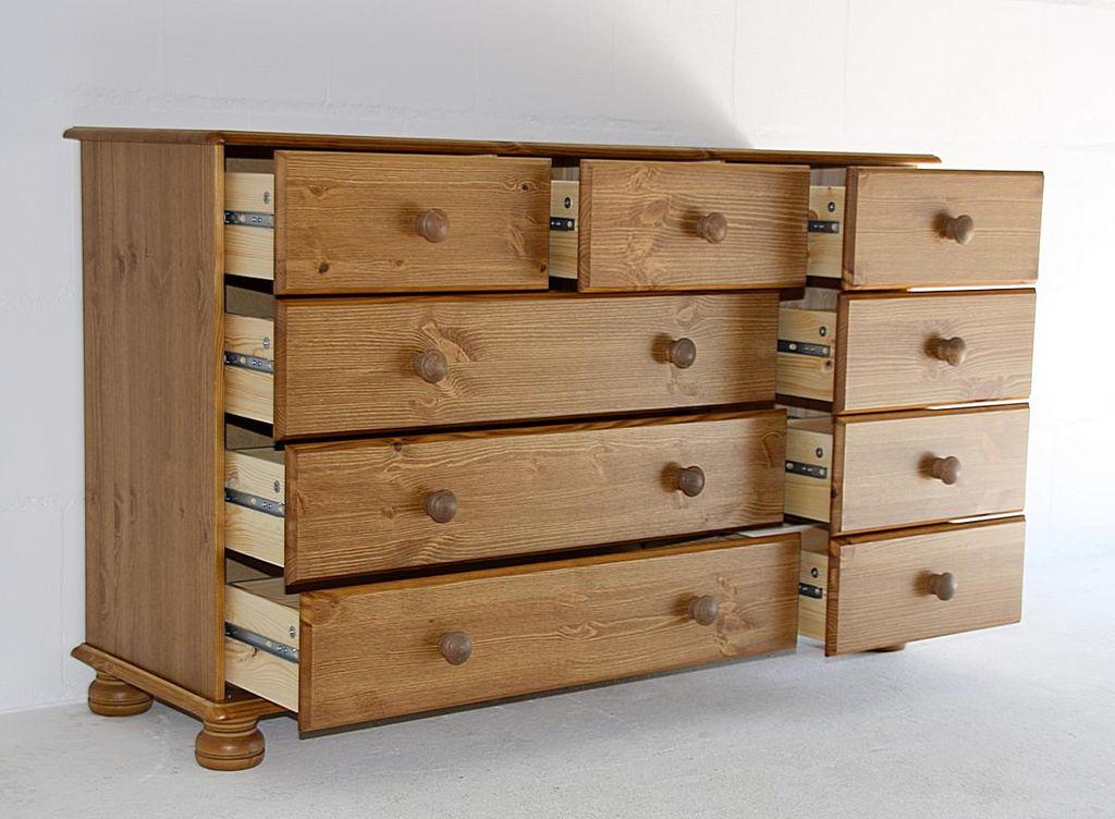 sideboard 121x74x38cm 3 6 schubladen kiefer massiv gebeizt lackiert. Black Bedroom Furniture Sets. Home Design Ideas