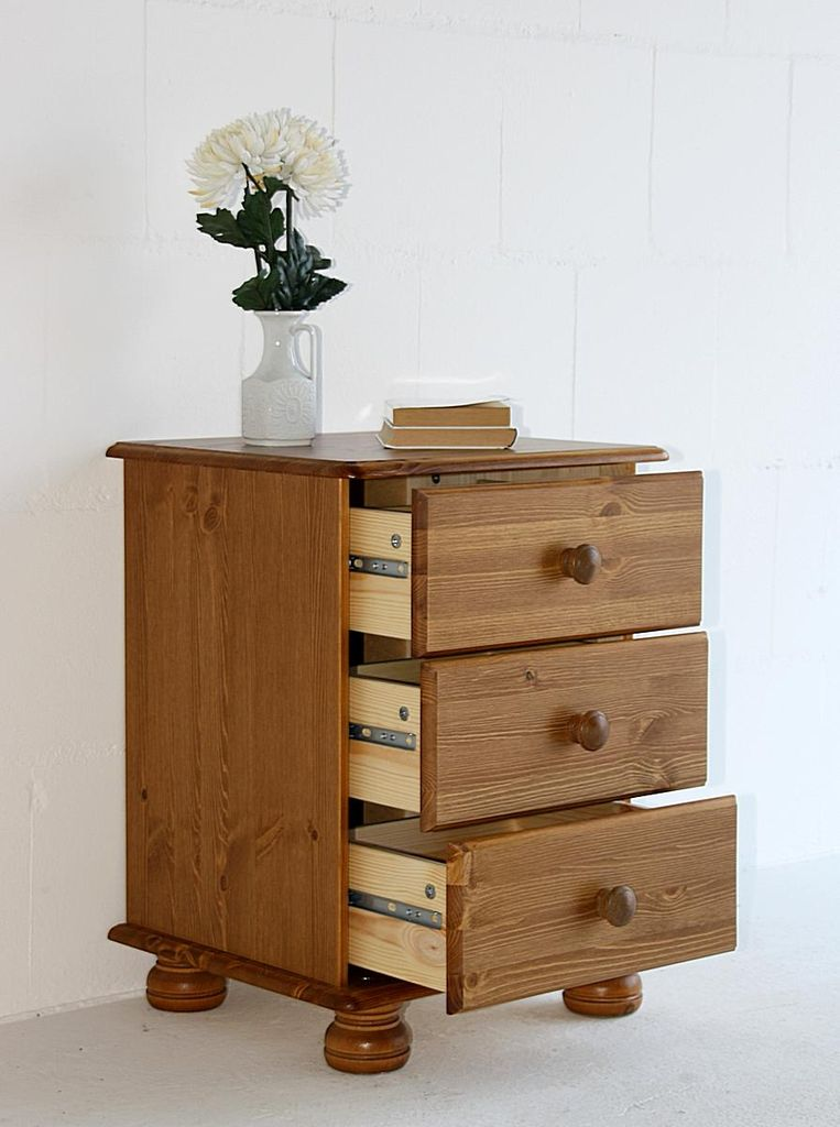 nachtkommode 44x58x38cm 3 schubladen kiefer massiv gebeizt lackiert. Black Bedroom Furniture Sets. Home Design Ideas