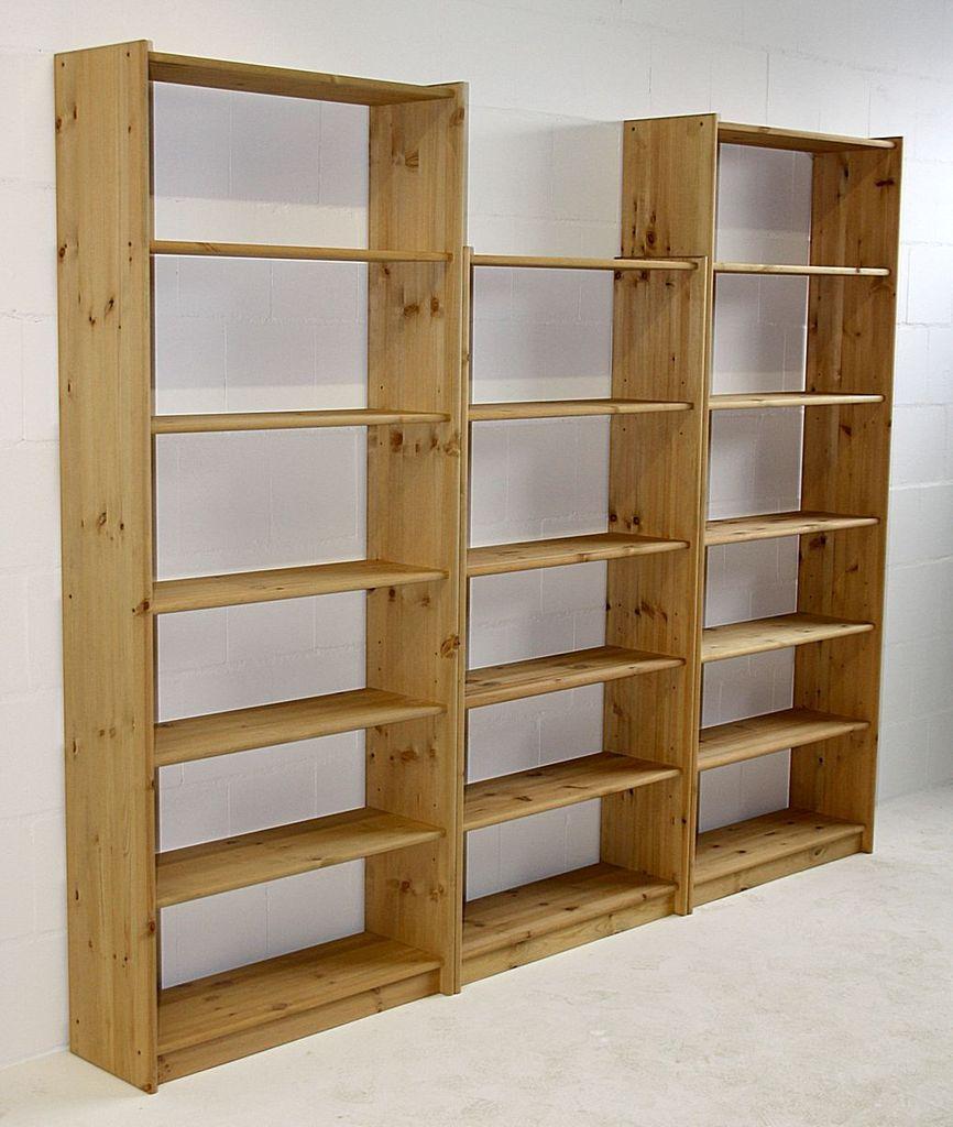 Regalwand 252x205 Büroregal Kiefer Bücherregal Vollholz massiv gelaugt geölt – Bild 7
