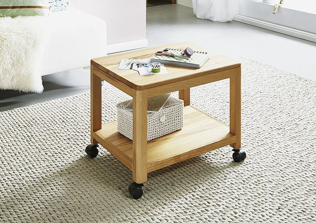 rollwagen 50x40x40cm ablageboden kernbuche massiv ge lt. Black Bedroom Furniture Sets. Home Design Ideas
