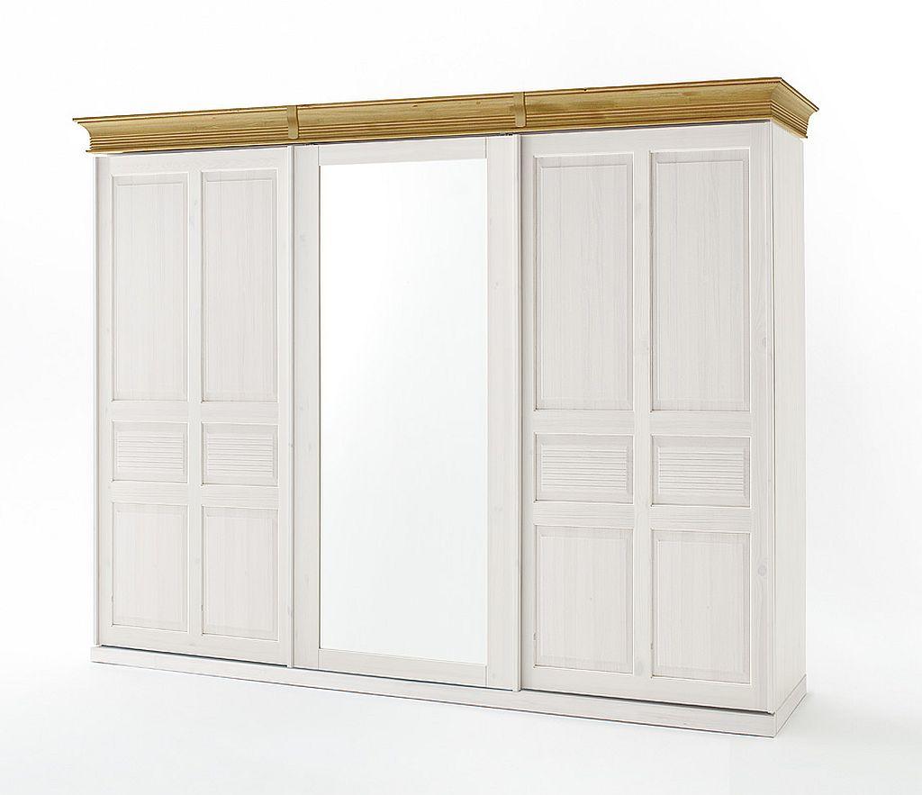 Massivholz Schwebeturenschrank 3turig Spiegel Weiss Kleiderschrank