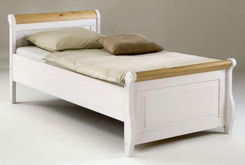 Einzelbett 100x200 weiß antik Holzbett Kiefer massiv Poarta