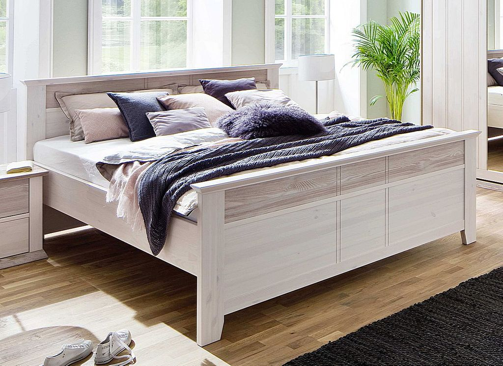 bett 140x200 kiefer massiv wei milan. Black Bedroom Furniture Sets. Home Design Ideas