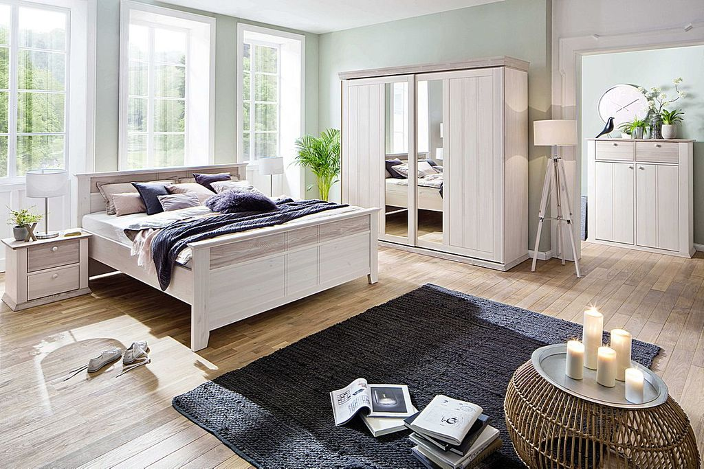 schlafzimmer 5teilig schrank 2t rig bett 140x200 kiefer massiv wei milan. Black Bedroom Furniture Sets. Home Design Ideas