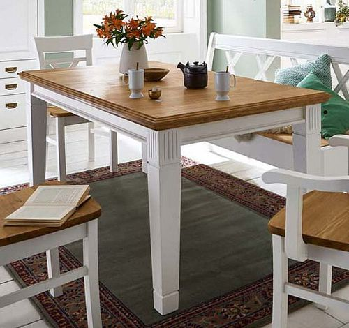 Esstisch 120x80 weiß massiv Esszimmertisch Kiefer Wildeiche geölt – Bild 1