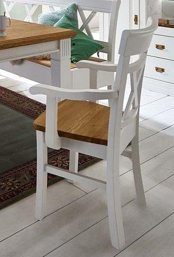 Massivholz Stuhl mit Armlehnen Kiefer Wildeiche geölt – Bild 2