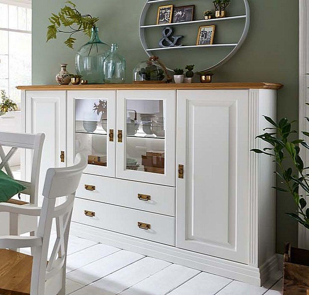 highboard 203x133x45cm 2 holzt ren 2 glast ren 2 schubladen kiefer massiv reinwei lackiert. Black Bedroom Furniture Sets. Home Design Ideas