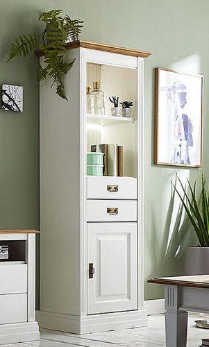 Bücherregal weiß rechts Wohnzimmerschrank Vitrine massiv Kiefer Wildeiche geölt