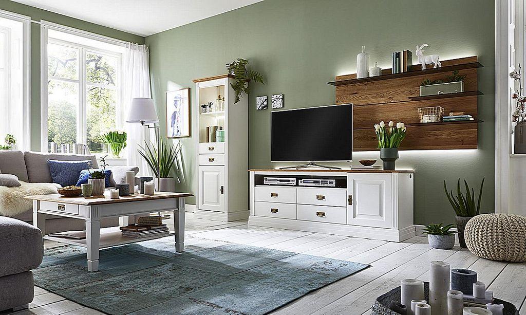Wohnzimmer-Set 4teilig, Kiefer massiv reinweiß lackiert / Wildeiche ...