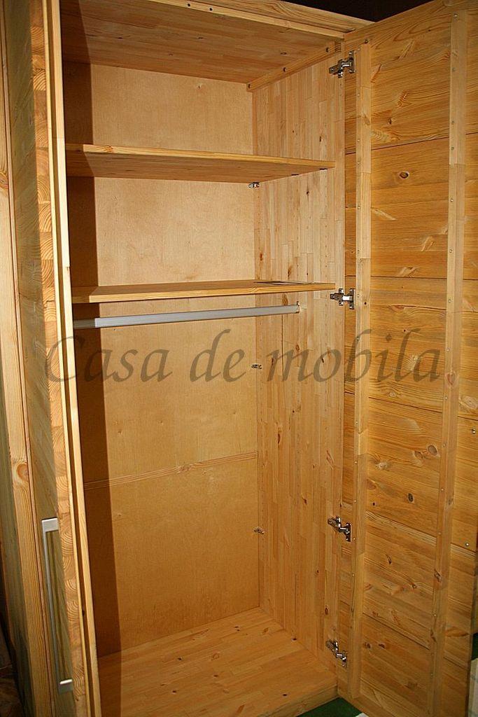 Kleiderschrank 2türig Kiefer massiv 123cm Breite Schrank gelaugt geölt – Bild 4