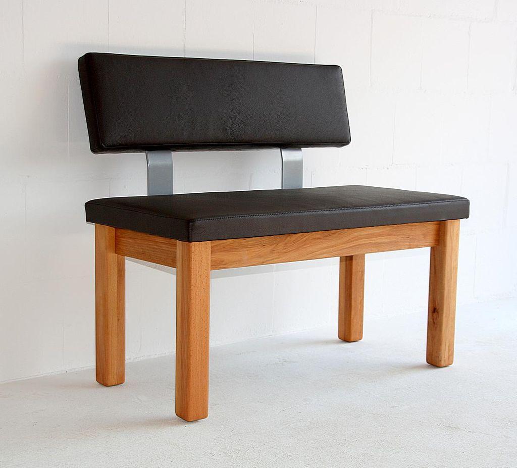 Massivholz Sitzbank 160 mit lehne gepolstert Leder braun Buche/Eiche geölt Bank   eBay