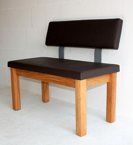 Sitzbank 160cm gepolstert Leder dunkelbraun Buche/Eiche massiv Vollholz geölt – Bild 5