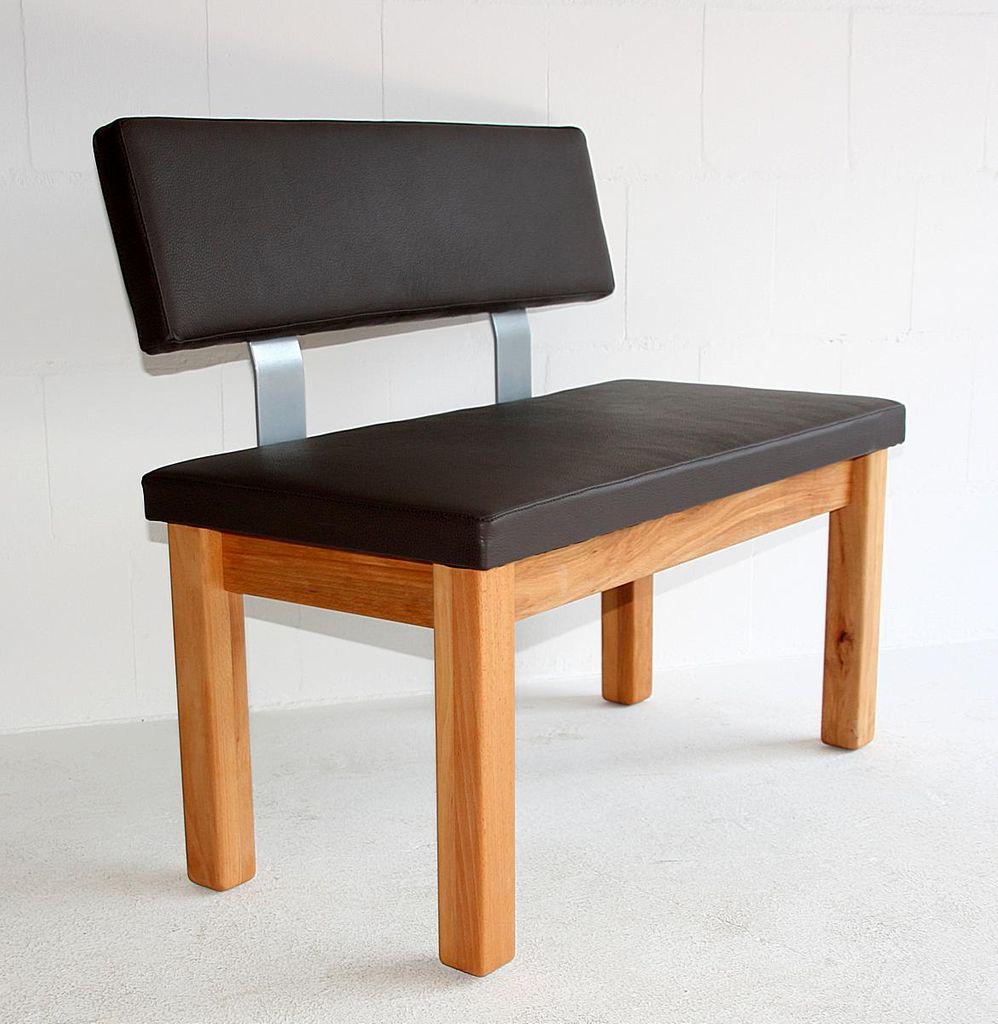 Sitzbank 200x83x53cm Gepolstert Mit Ruckenlehne Leder Colorado Dunkelbraun Massivholz Geolt Casade Mobila