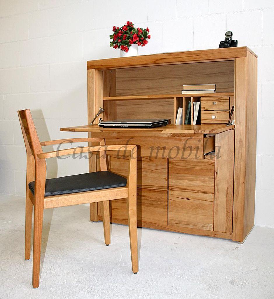 Massivholz Sekretär Kernbuche Computerschrank 115x120x40 Holzgriffe – Bild 1
